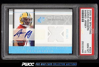 2005 SPx SPxciting Signed Jersey Aaron Rodgers RC AUTO PATCH 250 PSA 10 PWCC