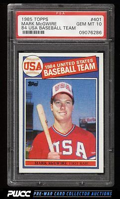 1985 Topps USA Baseball Team Mark McGwire ROOKIE RC 401 PSA 10 GEM MINT PWCC