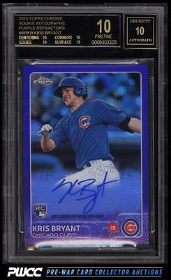2015 Topps Chrome Purple Refractor Kris Bryant ROOKIE RC AUTO 250 BGS 10 PWCC