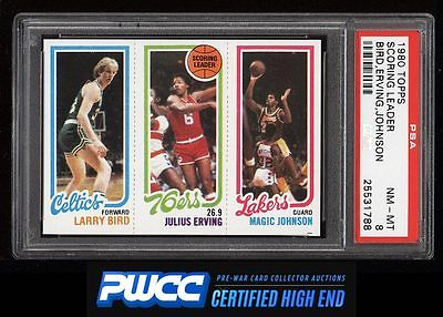 1980 Topps Basketball Larry Bird  Magic Johnson ROOKIE RC PSA 8 NMMT PWCCHE