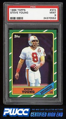 1986 Topps Football Steve Young ROOKIE RC 374 PSA 9 MINT PWCCHE