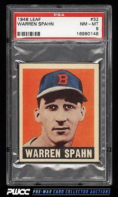 1948 Leaf Warren Spahn ROOKIE RC 32 PSA 8 NMMT PWCC