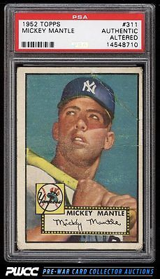 1952 Topps Mickey Mantle 311 PSA AUTH Altered PWCC
