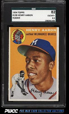1954 Topps Hank Aaron ROOKIE RC 128 SGC 6582 EXMT PWCC