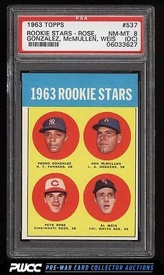 1963 Topps Pete Rose ROOKIE RC 537 PSA 8oc NMMT PWCC