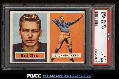 1957 Topps Football Bart Starr ROOKIE RC 119 PSA 6 EXMT PWCC