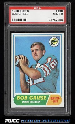 1968 Topps Football Bob Griese ROOKIE RC 196 PSA 9 MINT PWCC