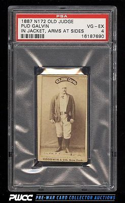 1887 N172 Old Judge Pud Galvin IN JACKET ARMS AT SIDES PSA 4 VGEX PWCC