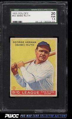1933 Goudey Babe Ruth 53 SGC 1520 FR PWCC