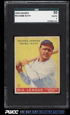1933 Goudey Babe Ruth 53 SGC 450 VGEX PWCC