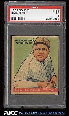 1933 Goudey Babe Ruth 181 PSA 1 PR PWCC