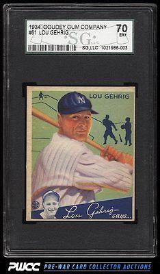 1934 Goudey Lou Gehrig GREEN 61 SGC 5570 EX PWCC