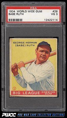 1934 Goudey World Wide Gum Babe Ruth 28 PSA 3 VG PWCC