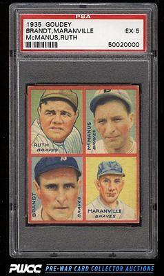 1935 Goudey 4In1 Babe Ruth Rabbit Maranville Brandt McManus PSA 5 EX PWCC
