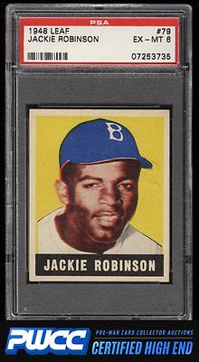 1948 Leaf Jackie Robinson ROOKIE RC 79 PSA 6 EXMT PWCCHE