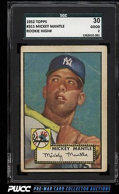 1952 Topps Mickey Mantle 311 SGC 230 GD PWCC