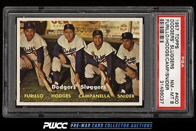 1957 Topps Duke Snider Campanella Hodges Furillo SLUGGERS 400 PSA 8 NMMT PWCC