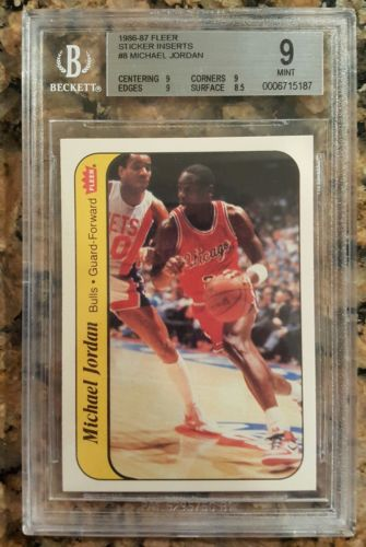 198687 Michael Jordan Fleer Sticker Rookie 8 BGS 9 9 9 9 85 CENTERED MINT