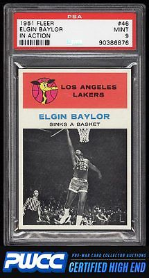 1961 Fleer Basketball Elgin Baylor IN ACTION 46 PSA 9 MINT PWCCHE