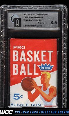 1961 Fleer Basketball Five Cent Wax Pack GAI 85 NMMT PWCC