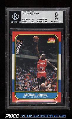 1986 Fleer Basketball Michael Jordan ROOKIE RC 57 BGS 9 MINT PWCC
