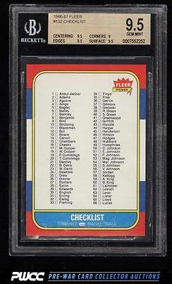 1986 Fleer Basketball Checklist 1132 132 BGS 95 GEM MINT PWCC