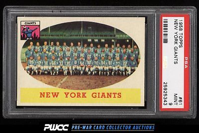 1958 Topps Football New York Giants 61 PSA 9 MINT PWCC