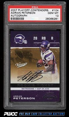2007 Playoff Contenders Adrian Peterson ROOKIE RC AUTO 104 PSA 10 GEM MT PWCC