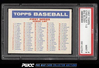 1957 Topps SETBREAK Checklist 12 BIG BLONY PSA 9 MINT PWCC
