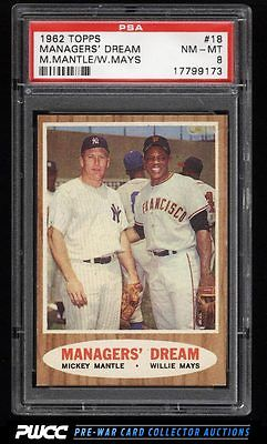 1962 Topps SETBREAK Mickey Mantle  Willie Mays MANAGERS DREAM 18 PSA 8 PWCC