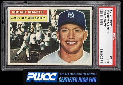 1956 Topps Mickey Mantle 135 PSA 5 EX PWCCHE