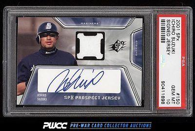 2001 SPx Signed Jersey Ichiro Suzuki ROOKIE AUTO PATCH 150 PSA 10 GEM MT PWCC