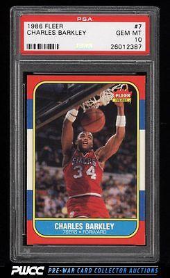 1986 Fleer Basketball Charles Barkley ROOKIE RC 7 PSA 10 GEM MINT PWCC