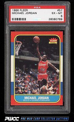 1986 Fleer Basketball Michael Jordan ROOKIE RC 57 PSA 6 EXMT PWCC