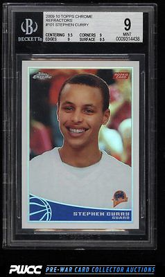 2009 Topps Chrome Refractors Stephen Curry ROOKIE RC 500 101 BGS 9 MINT PWCC