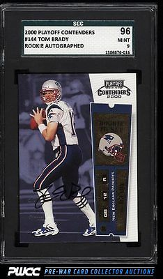 2000 Playoff Contenders Tom Brady ROOKIE RC AUTO 144 SGC 996 MINT PWCC
