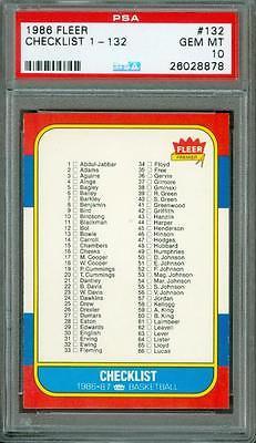 1986 Fleer Checklist 132 PSA 10 Tough Card 5050 Centering