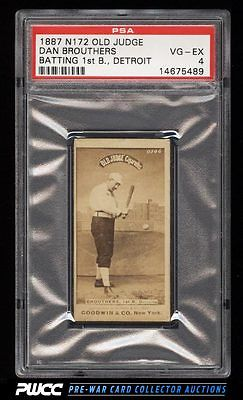 1887 N172 Old Judge Dan Brouthers STRIKE LOOK DOWN AT BALL PSA 4 VGEX PWCC
