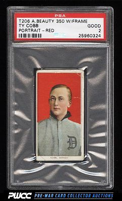 190911 T206 Ty Cobb RED PORTRAIT AMERICAN BEAUTY WITH FRAME PSA 2 GD PWCC