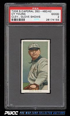 190911 T206 Cy Young CLEVELAND GLOVE SHOWS SC FACTORY 42 PSA 2 GD PWCC
