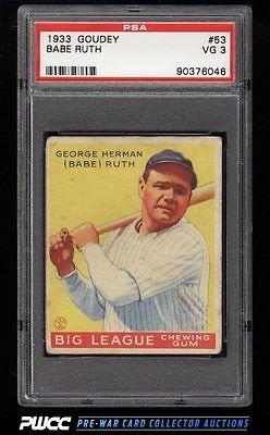 1933 Goudey Babe Ruth 53 PSA 3 VG PWCC