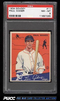 1934 Goudey SETBREAK Paul Waner 11 PSA 8 NMMT PWCC