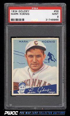 1934 Goudey SETBREAK Mark Koenig 56 PSA 9 MINT PWCC