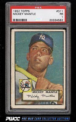 1952 Topps Mickey Mantle 311 PSA 1 PR PWCC