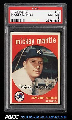 1959 Topps Mickey Mantle 10 PSA 8 NMMT PWCC