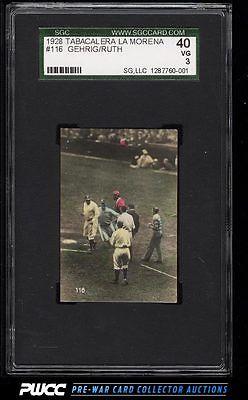 1928 Tabacalera La Morena Babe Ruth  Lou Gehrig 116 SGC 340 VG PWCC