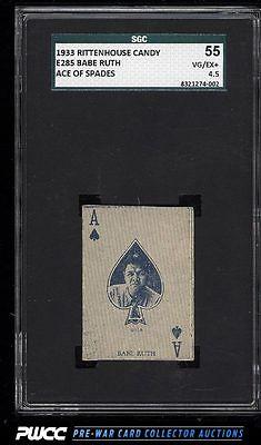 1933 E285 Rittenhouse Candy Babe Ruth ACE OF SPADES SGC 4555 VGEX PWCC