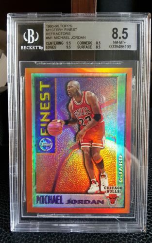199596 MYSTERY FINEST MICHAEL JORDAN M1 ORANGE BORDERED TEST REFRACTOR BGS 85