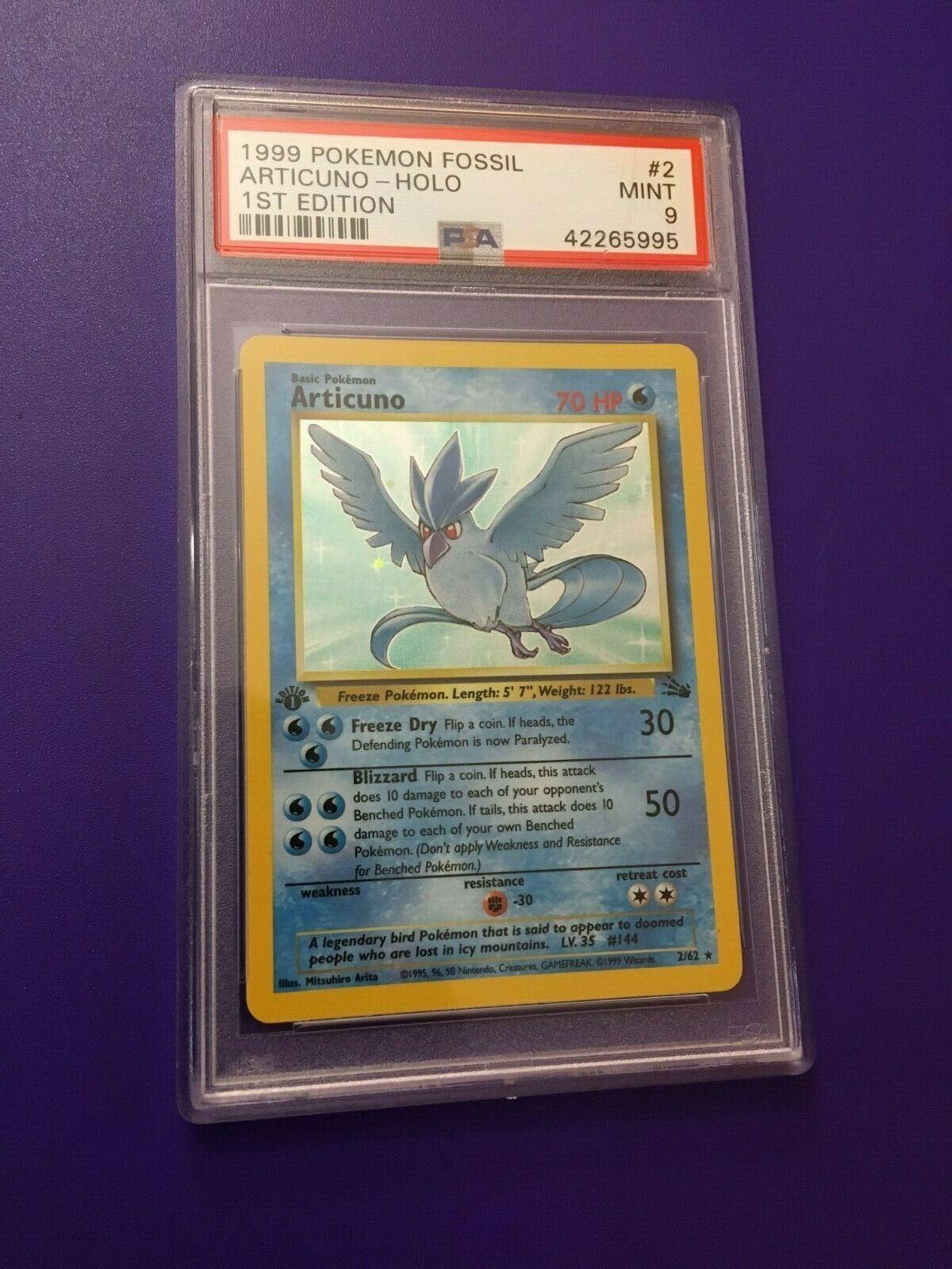 Articuno 1st edition Holo PSA 9 Mint Fossil 1999 Pokemon Card 262