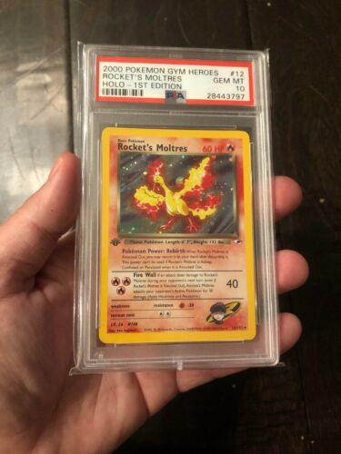 Rockets Moltres Holo 2000 Pokemon Gym Heroes 1st Edition First Card 12 PSA 10